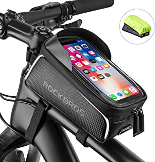 ROCK BROS Bike Phone Bag Bike Front Frame Bag Waterproof Bicycle Phone Mount Bag Phone Case...