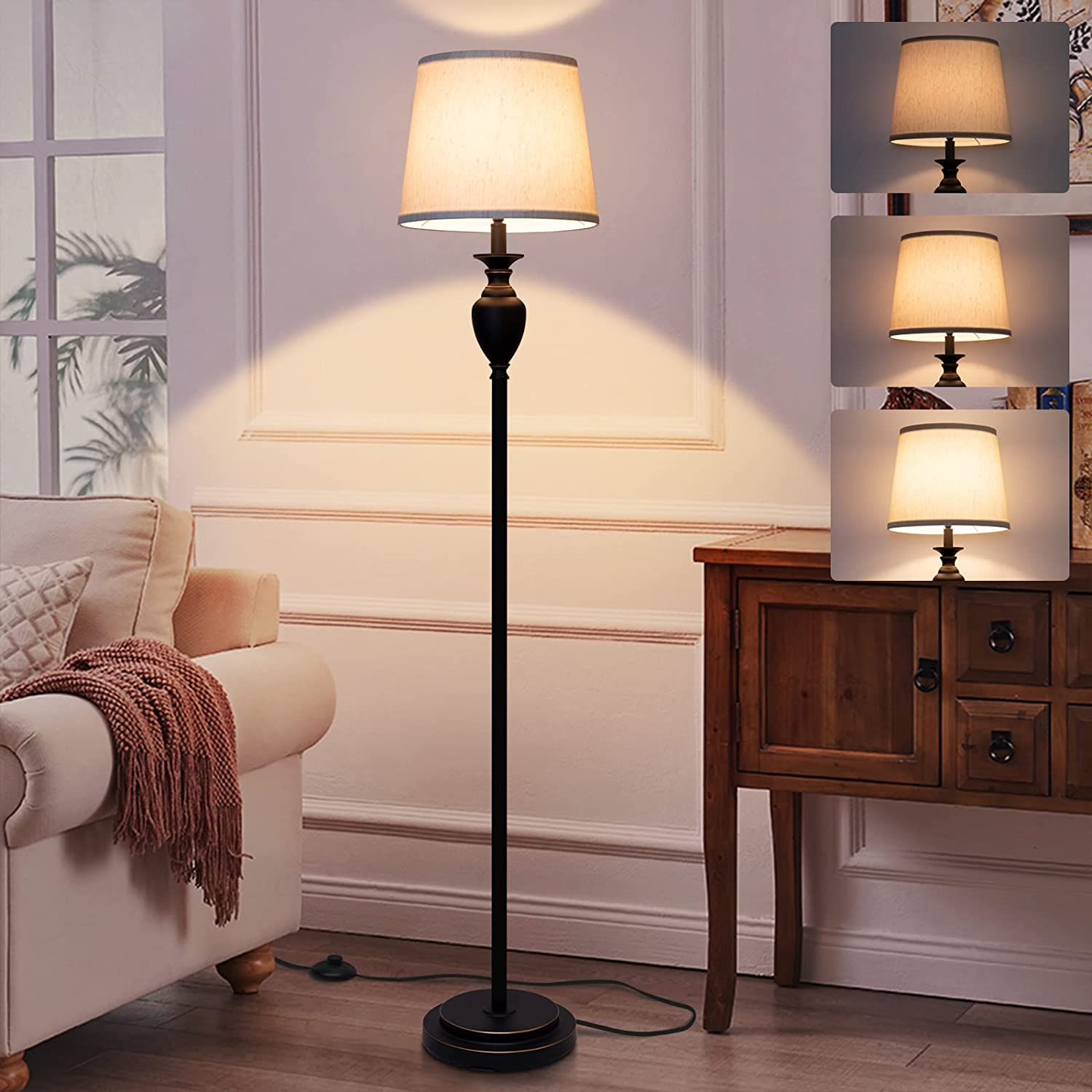 LED Floor Lamp, Fully Dimmable Traditional Floor Lamp with Pedal Switch, Tall Pole Lamp Beige Shade Classic Standing Lamp Black Base Corner Light for Living Room Bedroom Office, 8W LED Bulb Included