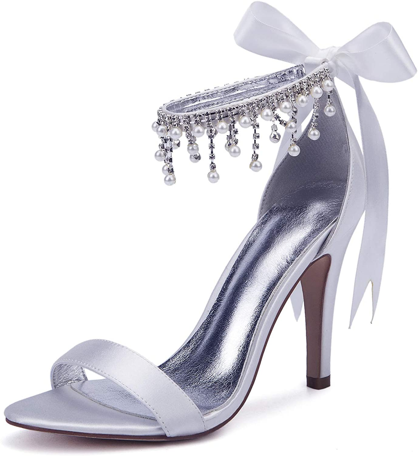 LLBubble Women High Heels Satin Crystals Wedding Bridal Sandals Open Toe Ankle Strap Prom Evening Formal Party Dress shoes 430-19