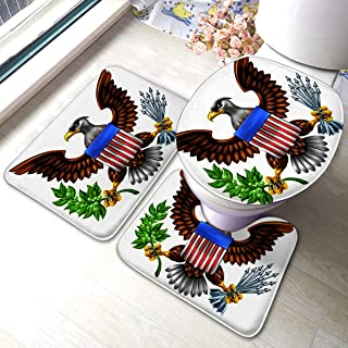 3 Piece Bathroom Anti-Skid Pads American Eagle Design with Bald Like That Found On The Great Seal of United States Holding Includes U-Shaped Contour Toilet Mat, Bath Mat and Toilet Lid Cover