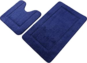 "Pauwer Navy Blue Bath Rug Set 2 Piece 21"" x 34""+20""x 20"" Bathroom Contour Rug Combo Non Slip Microfiber Bath Shower Mat an..."