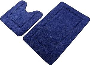 "Pauwer Navy Blue Bath Rug Set 2 Piece 21"" x 34""+20""x 20"" Bathroom Contour Rug Combo Non Slip Microfiber Bath Shower Mat an..."