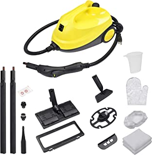 Yescom 1500W Multifunctional Steam Cleaner 13 Accessories with 1.5L Tank Chemical-free Heavy Duty Rolling Cleaning Machine for Carpet, Floors, Windows,Mirrors,Glasses and Cars