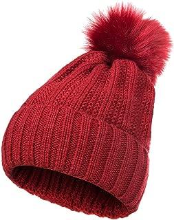 GLOUE Women's Winter Beanie Warm Fleece Lining Slouchy Cable Knit Skull Hat Ski Cap