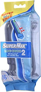 Supermax Men Disposable Long Handle Twin Blade, 10+ 6 Razors 1 Units