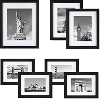 ONE WALL Tempered Glass Picture Frame Set of 7, Multi Pack Black Photo Frames for Wall or Tabletop Display, Gallery Wall Art Kit 1pcs 11x14, 2pcs 8x10, 4pcs 6x8 with Mats - Mounting Hardware Included