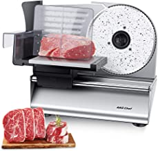"""AKG Chef Electric Food Slicer, Precision 7.5"""" ceramic coated Stainless Steel Blade For Various Food, Powerful 180 Watt mot..."""