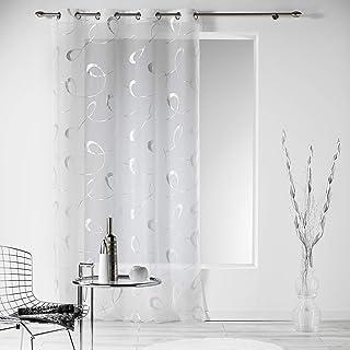 douceur d'intérieur 1624249 Panneau Oeillet Voile Imprime Argent Infinité Blanc Polyester 240 x 140 cm
