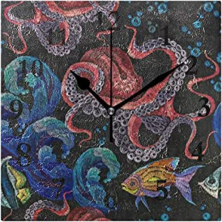 FunnyCustom Octopus Sea Wave Tropical Fish Square Wall Clock 7.8 Inch Hanging Clock for Living Room/Kitchen/Bedroom