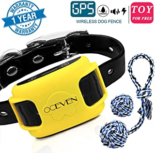 OCEVEN Wireless Dog Fence System with GPS, Outdoor Pet Containment System Rechargeable Waterproof Collar EF851S, for 15lbs-120lbs Dogs with 2pcs Toys for Free, Yellow
