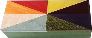 """Portagioie in legno intarsiato 23x10cm design""""Spicchi Colorati"""""""