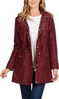 Women's Satin Faux Fur Lined Hoodie Long Coat Anorak Jacket
