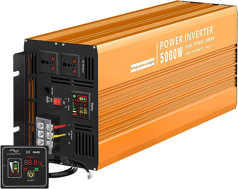 LONGRING Inversor Onda sinusoidal Pura Peak 6000W/10000W Inversor DC 12V/24V/36V/48V a AC 110V 220V Auto Power Inverter Transformador de Voltaje de energía Convertidor Toma de CA par,48v,110V/10000W
