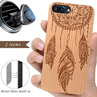 iProductsUS Wood Phone Case Compatible with iPhone 8 7 6/6S and Magnetic Mount - Protective Wooden Cases Engraved Dreamcatcher, Built in Metal Plate, TPU Rubber Shockproof Cover (4.7 inch)