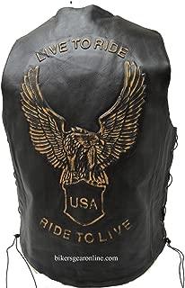 Men's Motorcycle Bikers Retro Black Leather Vest Eagle Embossed Back Side Laces (46 Regular)