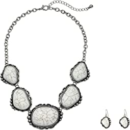 Large Stone Necklace/Earrings Set