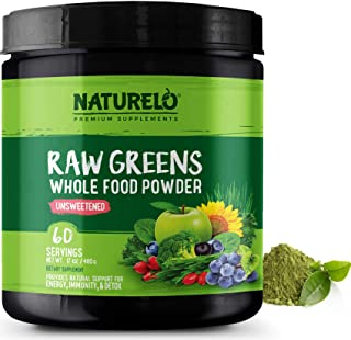 NATURELO Raw Greens Superfood Powder - Unsweetened - Boost Energy, Detox, Enhance Health - Organic Spirulina - Wheat Grass...
