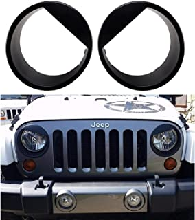 Bolaxin [Upgrade Clip in Version] Black angry bird style Headlight Trim Head Lamps Cover Ring Trim for 2007-2018 Jeep Wrangler JK & Wrangler Unlimited