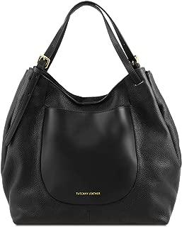 Cinzia - Soft leather shopping bag - TL141515 (Black)