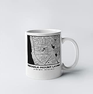 Dehiwala-Mount Lavinia City Map 11 oz. White Gift or Souvenir Coffee Mug