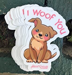 1 I Woof You Sticker - One 4 Inch WaterProof Vinyl - I Love You Cute Funny Food Pun Decal For Hydro Flask Skateboard Laptop etc