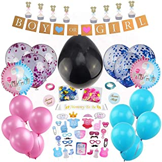 """Gender Reveal Party Supplies (103 Pieces) with Big Black Balloon, """"Mommy to Be"""" Sash, Gender Reveal Cupcake Topper, Gender Reveal Balloon, Confetti, Photo Booth Props, Boy Or Girl Banner, Gender Reveal Stickers, Baby Gender Reveal Party Decor and Favors"""