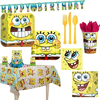 AMSCAN EUROPE SPONGEBOB16 Party Supplies for 16 Guests, Inlcudes Plates, Cups, a Banner, Table Cover, Decorating Kit, Cutl...