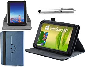 Navitech Blue Leather Case Cover 360 Rotational Stand Atlas Stylus Compatible The NeuTab K1 10.1 Inch Quad Core Android Tablet
