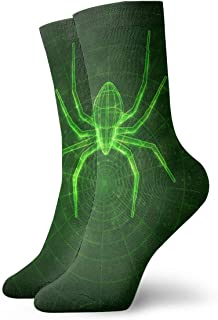 HHNK Crew Stockings Spider Web Glow In The Dark Athletic Knee High Protective 30cm Long Socks For Girls And Womens