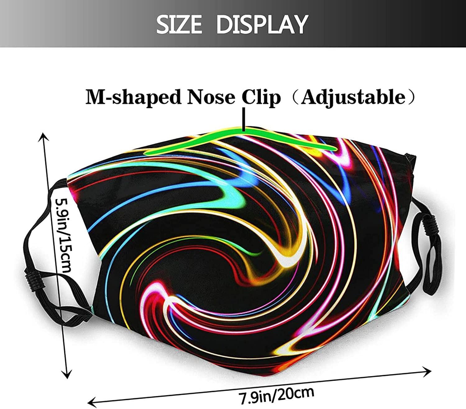 Dazzling Color Light Personality Face Mask Washable Adjustable Reusable Headscarf Balaclava Adult Mask with 2pcs Filter Black