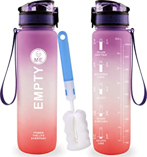 EmptyMe 32oz Sports Water Bottle for Gym | Yoga | Fitness, Pretty Color for Women, Dishwasher Safe Water Bottle with Times...