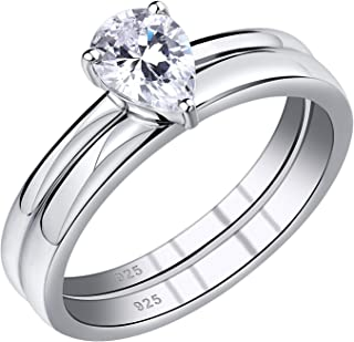 Wuziwen Pear Cut Cz Wedding Ring Sets Solitaire Promise Engagement Rings for Women Sterling Silver