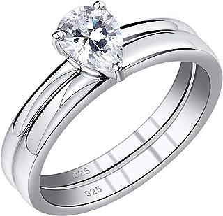 Wuziwen Pear Cut Cz Wedding Ring Set سوليتير خواتم الخطوبة للنساء الفضة الاسترليني