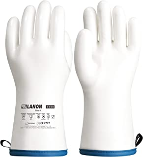 LANON Liquid Silicone Heat Resistant Gloves, Food Contact Grade, Waterproof, White, Size 9