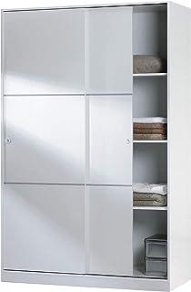 Habitdesign MAX020BO- Armario 2 Puertas Correderas y Estantes para Dormitorio o HabitacionAcabado en Blanco Brillo Medi...