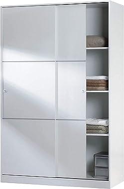 Armario 2 Puertas Correderas y Estantes, para Dormitorio o Habitacion, Modelo MAX, Acabado en Blanco Brillo, Medidas: 120 cm