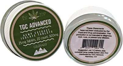 TGC Advanced - Pure All Natural Supplement, 25mg Hemp Isolate Tablet, with No Binding Agents
