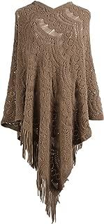Doballa Women's Cozy Lightweight Crochet Fringed Hem Knit Pullover Sweaters Poncho Cape Shawl Wrap