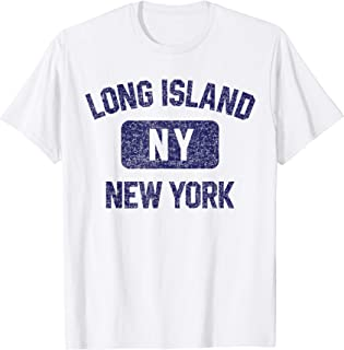 Long Island Gym Style Distressed Navy Blue Print T-Shirt