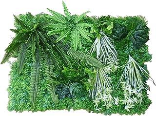 MedianField 【 ウォールグリーン 壁掛け 80cm×120cm 大型 セット 】 フェイクグリーン 観葉植物 リーフグリーン 造花 人工観葉植物 インテリア 雑貨 人工 フェイク 壁掛 グリーン 緑 植物マット 大きい おしゃれ 芝×4 シダ大×1 シダ小×1 オリヅルラン×3 葉×2 モンステラ×2 (壁 植物 セット)