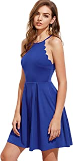 Best blue pleated halter neck swing dress Reviews