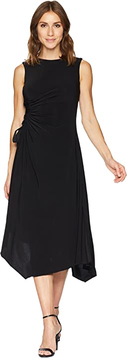 Jewel Neck Solid Side Ruched Jersey Dress