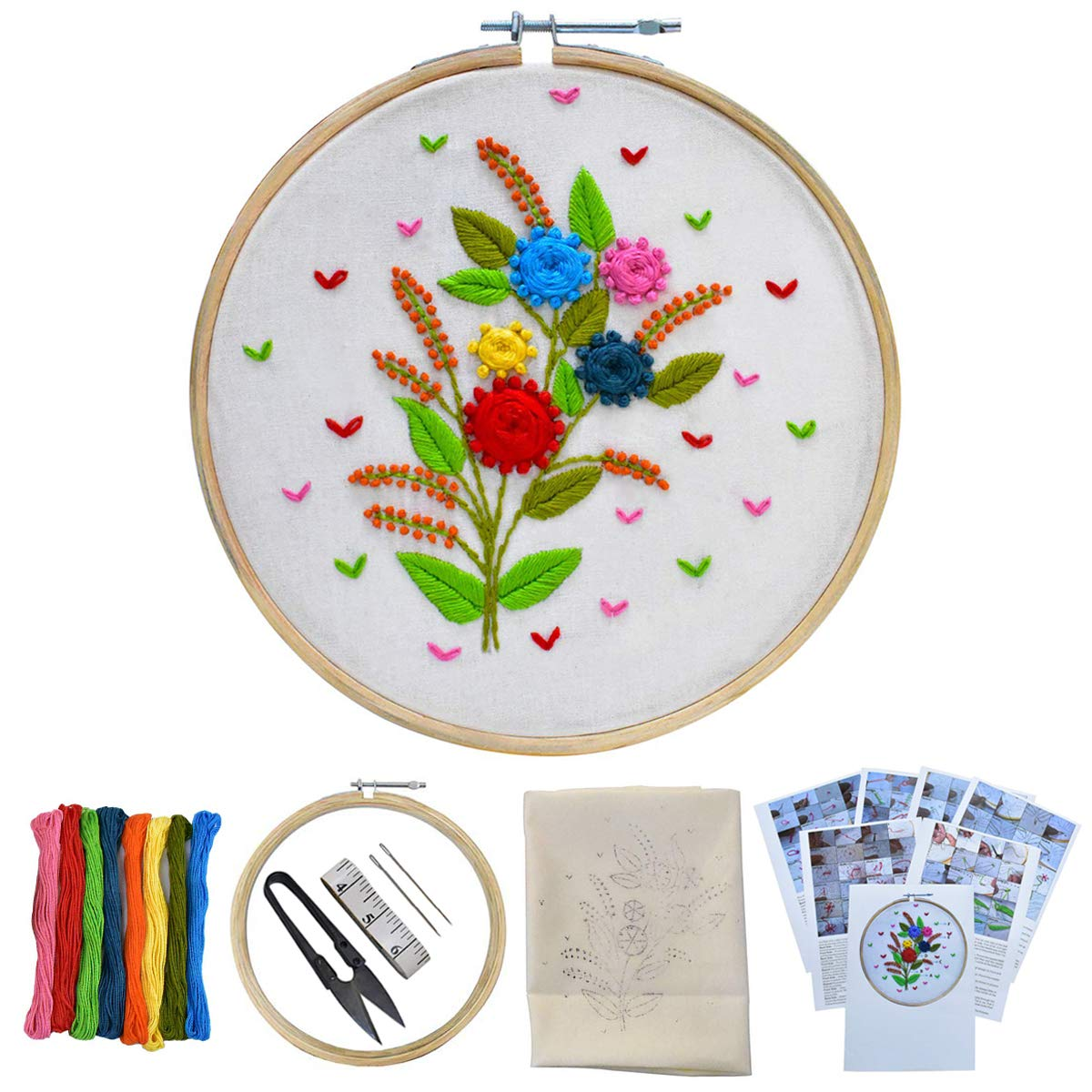Embroiderymaterial Beginners Kit Hand Embroidery Tutorial DIY Kit with 20  Different Types of Embroidery Stitches 20 Items