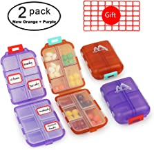 Muchengbao 2Pack Travel Pill Organizer, Pocket Pill Box Pill case for Purse Vitamin Fish Oil 10 Compartments Container Medicine Box (New Orange + Purple)