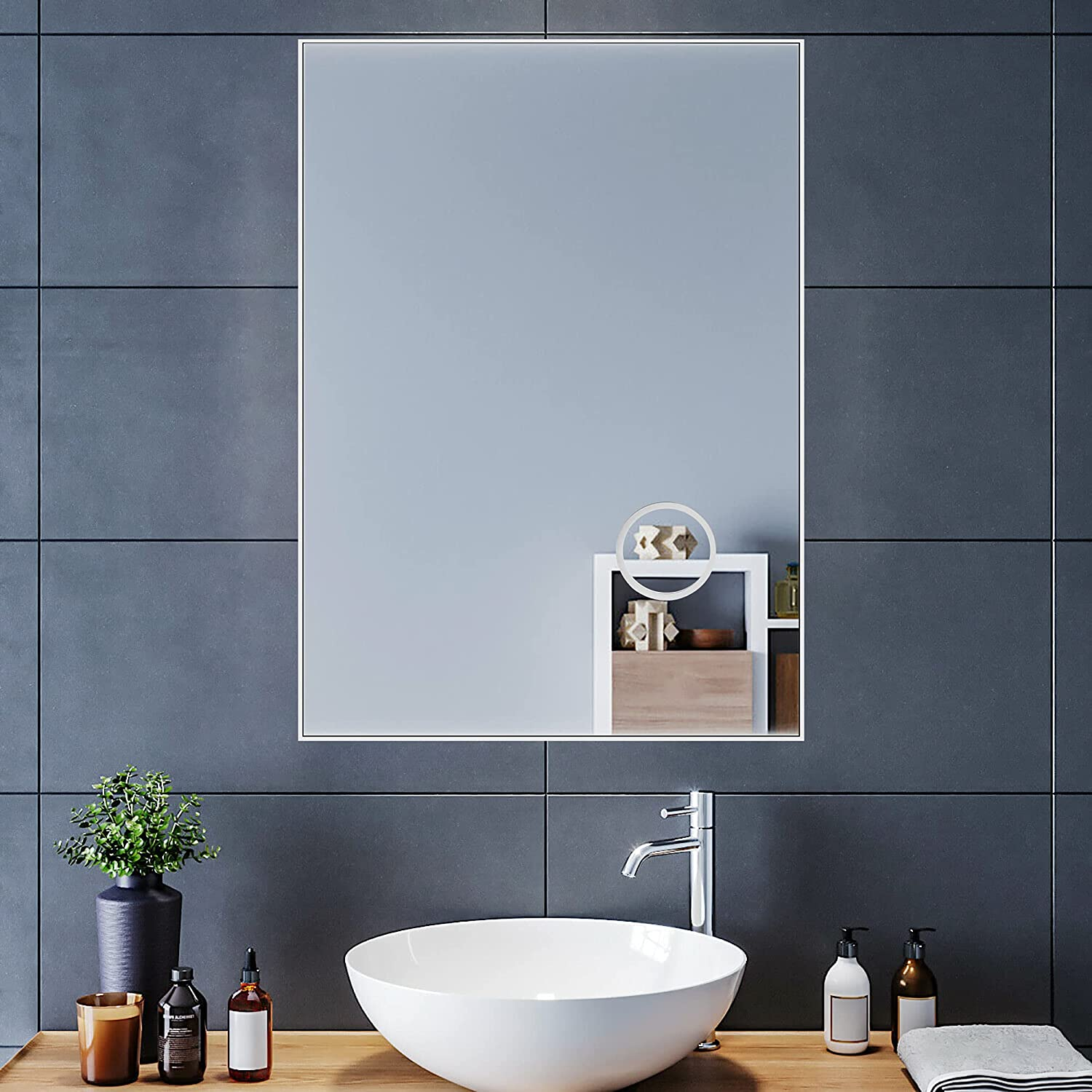 Buy Untrammelife Large Wall Mirror For Bathroom 29x42 Inch Rectangle Mirror With 3x Magnifier Makeup Vanity Mirror For Bathroom Hangs Horizontal Or Vertical Polished Nickel Finish Hellip Online In Indonesia B08yng7xs8