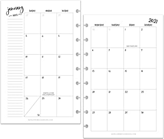 BetterNote 2021 Monthly Calendar for Disc-Bound Planners, Fits 8-Disc Levenger Circa Junior, ARC, TUL, Half Letter Size 5....