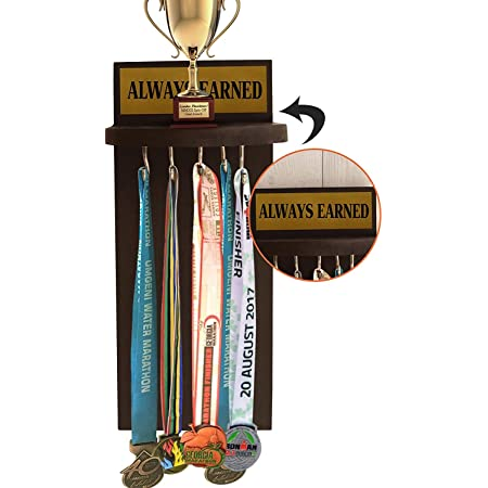 TIED RIBBONS Wall Hanging Medal and Trophy Display Holder Rack for Sports Cricket Cyclists Academics (Handcrafted, Wood)