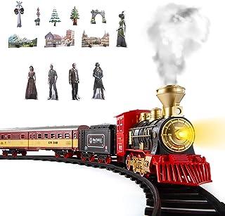 SNAEN Train Sets w/ Steam Locomotive Engine, Cargo Car and Tracks, Battery Powered Play Set Toy w/ Smoke, Light & Sounds, ...