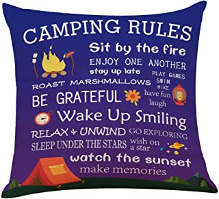 "Muminglong Funny Camping Rules Pillow Covers,Throw Pillow Cover Cushion Case Cotton Linen Material for Sofa Couch Room Décor 18""x 18""Inch"