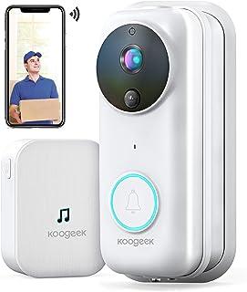 Koogeek Visiophone sans Fil,Interphone Vidéo WiFi HD 1080P, Sonnette Vidéo Intelligent avec Changement de Voix, Sonnette C...